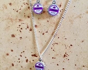 Grape Soda Bottlecap Charm Earrings/Necklace