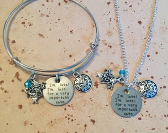 I'm Late I'm Late, for a very important date - Alice Charm Necklace, Bangle or Keyring