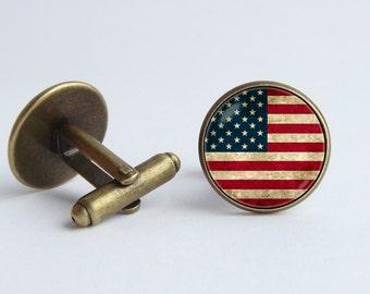 Dont Tread On Me Snake Gadsden Flag on Constitution Background Cufflinks Handmade Cuff Links
