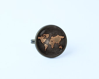 World Map Ring Vintage Map Ring Map Ring World Map Jewelry Navigation Atlas Ring  Map Jewelry Traveler Gift Old Map Jewelry Globe Ring