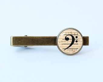 2f0be1866f4d Bass clef tie clip Musical tie clip Music lover gift Bass clef jewelry  Music tie clip Gift for musician Music tie bar Gift for him Notes