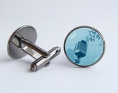 Microphone Cuff links Music Gift for Dad Music gift Old microphone Music lovers gift Cufflinks Gift for musician Vintage microphone Blue