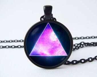 Space triangle Triangle tie clip Gift for Dad Space tie clip Purple space Triangle tie bar Sacred geometry Triangle Nebula Nebula jewelry