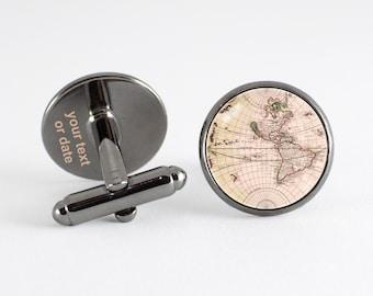 Vintage globe cufflinks Boyfriend gift Cufflinks globe Accessories for men Traveler gift Men jewelry Husband gift Cuff links old world map