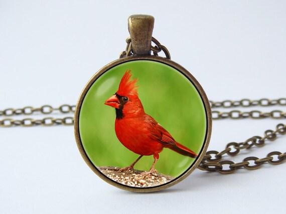Red Cardinal Bird,N176 Cardinal Memorial Red Bird Pendant Necklace Jewelry Glass Art Handmade Pendant Necklace,Christmas Cardinal