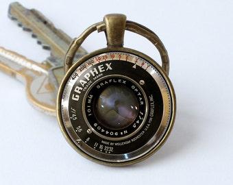 Keychain camera Lens keyring Camera lens jewelry Camera pendant Husband gift Photography key ring Camera lens keychain Gift for photographer