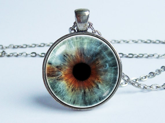 Stained glass eye necklace Good look jewelry Grey eye jewelry Gothic eye jewelry Party pendant Witchcraft jewelry Beloved necklace