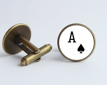 Ace card cufflinks Ace cuff links Men cuff links Playing card jewelry Card gift Poker jewelry Poker cufflinks Ace of Spades Mens jewelry