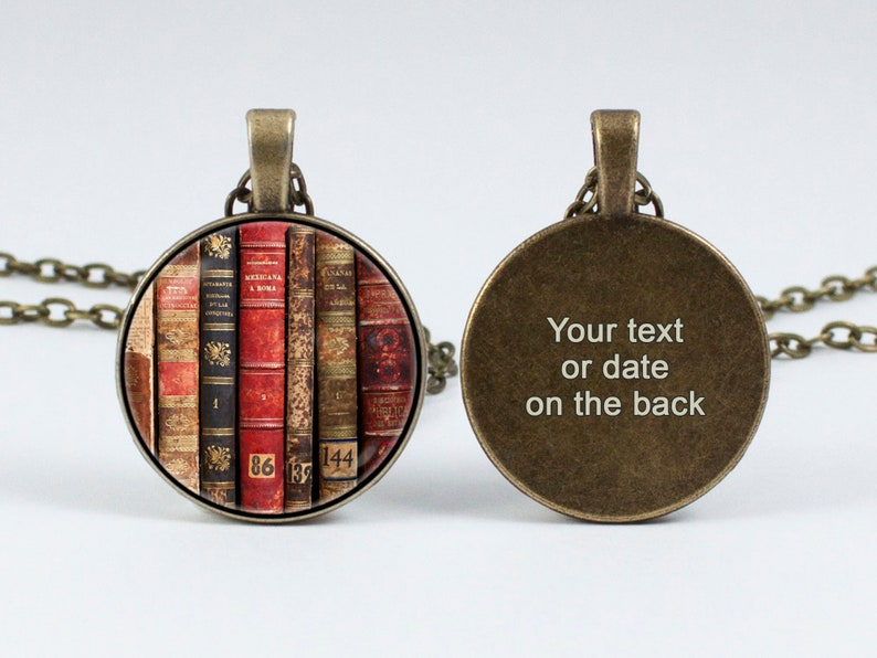 Personalized book pendant Custom text Bookish jewelry Customized necklace Gift for wife Bookworm gift Women gift Initials Books lover gift