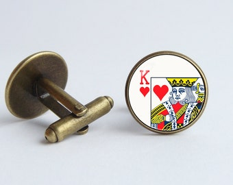 Playing card cufflinks King of Hearts Men cuff links Playing card jewelry Card gift Poker jewelry Poker cufflinks Cards cufflinks Mens gift