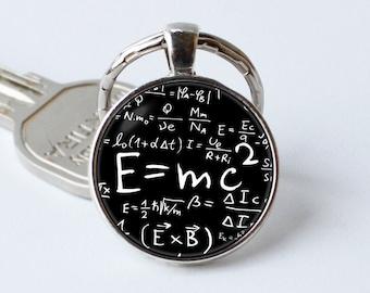Formula keychain E=mc2 jewelry E=mc2 keyring Glass tile key ring Albert Einstein Formula pendant Teachers gift Physics Science key chain