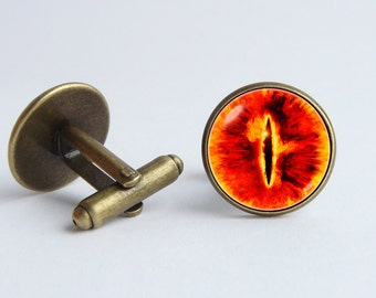Eye sauron cufflinks Monster eye cuff links Eye jewelry Eye sauron gift Fantasy jewelry Orange cuff links Legend cufflinks Evil cufflinks