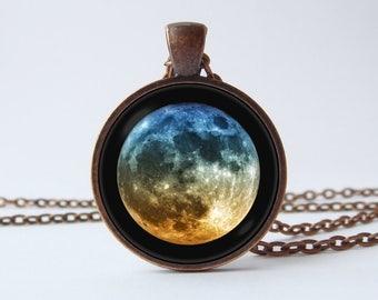 Luna simple collar luna llena colgante Luna cristal colgante Luna joyería Luna collar Luna fase espacio colgante universo Luna Regalo colorido