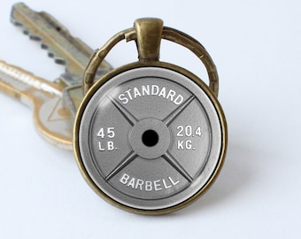 Dumbbell keychain Barbell keyring Weightlifting Barbell pendant Barbell key chain Bodybuilding Fitness keychain GLASS LENS on the front