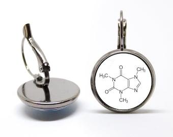 Caffeine molecule Earrings Coffee addict gift Caffeine earrings Caffeine jewelry Molecule earrings Graduation gift Chemistry Science Symbol