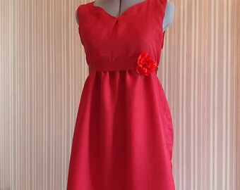Red dress with rose detail - Bridesmaid / Formal / Prom / Party / Evening / Holiday dress