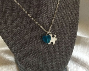 Puzzle Piece and Recycled Glass Heart Silver Charm Necklace - Autism Awareness Charity Donation