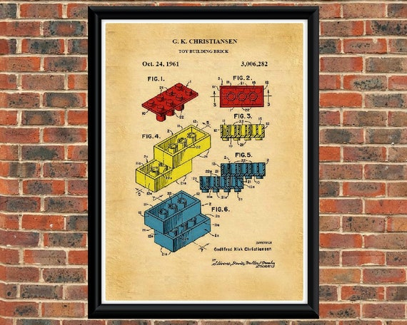 Vintage// or Black /& White. A4 Art Print LEGO TOY FIGURE 1979 Patent Drawing