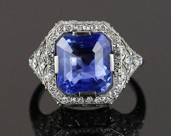 7ct No-heat Ceylon Sapphire Art Deco Ring