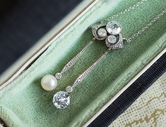 Edwardian Diamond Pearl Negligee Necklace