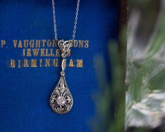 Edwardian Diamond Lavalier Necklace