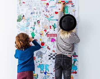 Giant colouring picture 'THE CITY' (91,4 x 150 cm)