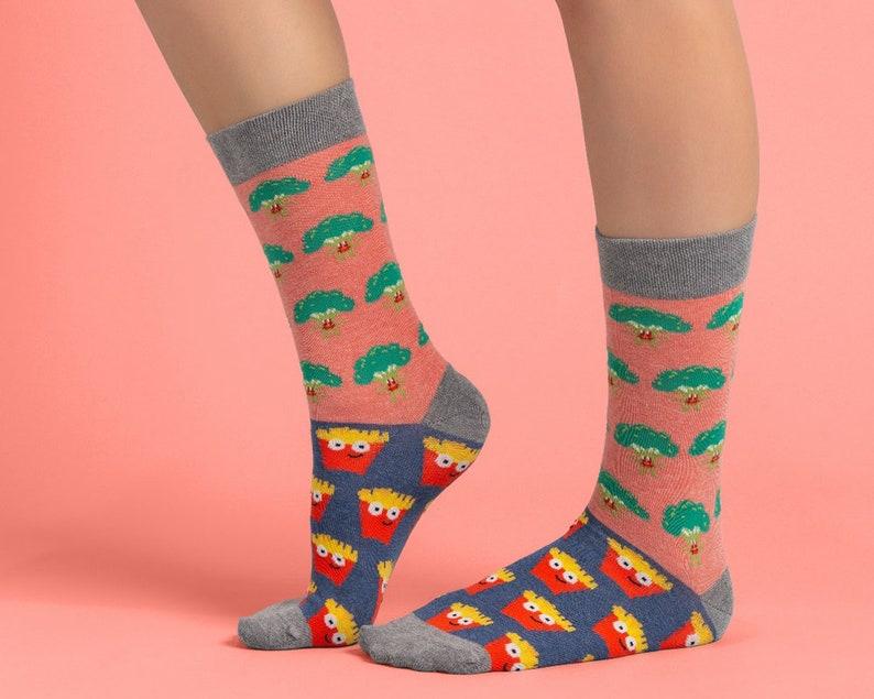 6a494c582c Broccoli vs Fries socks Unisex socks food socks pink
