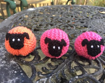 Pink and Orange Knitted Sheep.