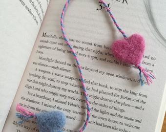 Needle Felted Heart Bookmark.