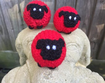 Red Knitted Sheep.