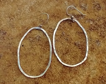Imperfect Large Silver Oval Hoops