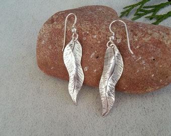 Silver Mountain Laurel Leaf Earrings