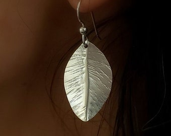Silver Lunar Leaf Earrings