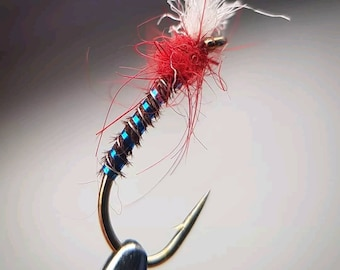 Fly Fishing Flies  Bloodworm Lightweight Red Quill Buzzers size 12 Set of 3