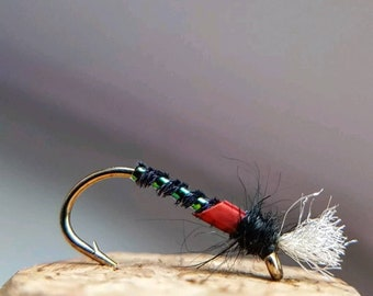 Set of 3 Fly Fishing Flies Trout Cdc Red Tag Suspender Buzzer Size 12