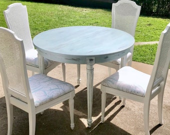 Thomasville Dining Set   Dining Table And Chairs, French Farmhouse Table,  Round Dining Table, Table And Chairs, Refurbished