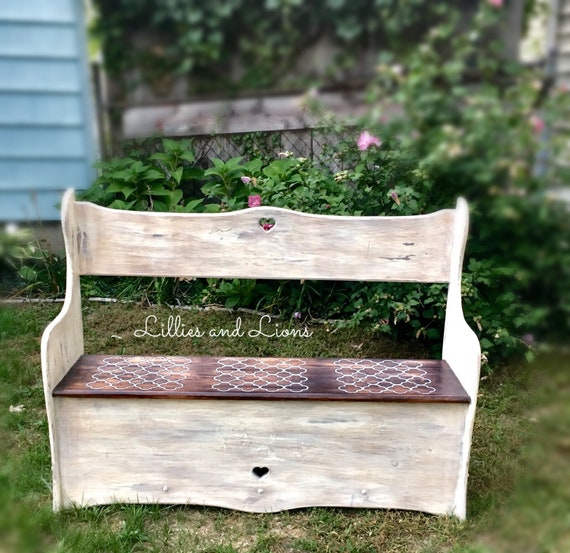 Cool Sold White Farmhouse Entryway Bench French Country Bench Storage Bench Mudroom Bench Hallway Bench Settlers Bench Storage Rustic Pabps2019 Chair Design Images Pabps2019Com