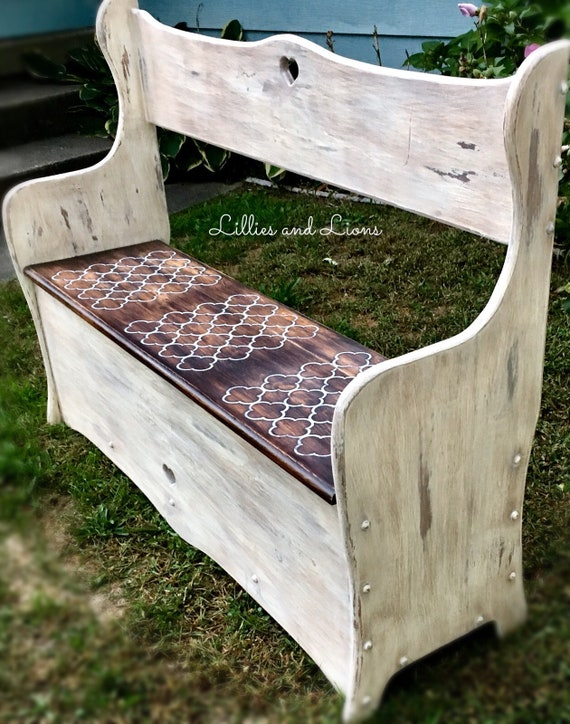 Admirable Sold White Farmhouse Entryway Bench French Country Bench Storage Bench Mudroom Bench Hallway Bench Settlers Bench Storage Rustic Unemploymentrelief Wooden Chair Designs For Living Room Unemploymentrelieforg