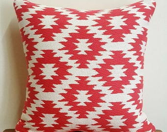 Coral red cushion cover
