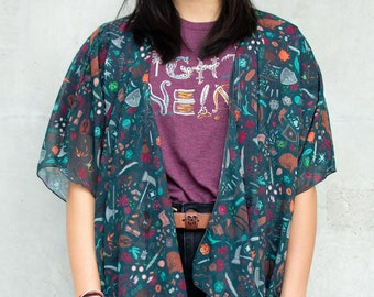 DND Dungeons and Dragons, Critical Role Patterned Chiffon Shawl/Kimono