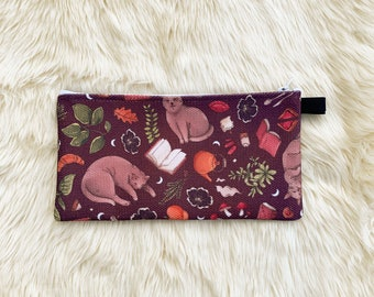 Cat & Book-Lovers Cozy Pattern Pencil Case/Small Pouch