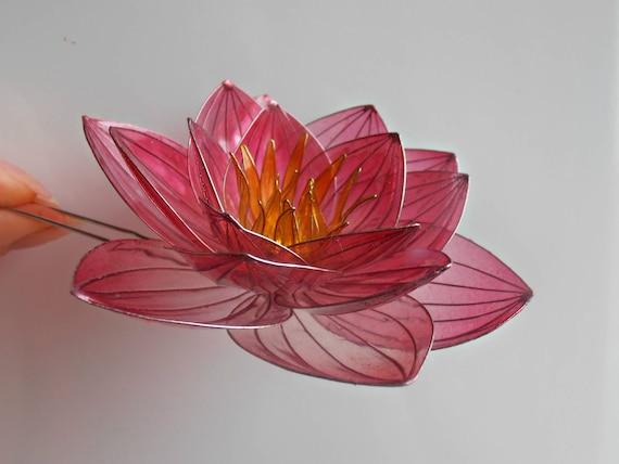 Pink Opal Lotus Hair Scarf Shawl Pin