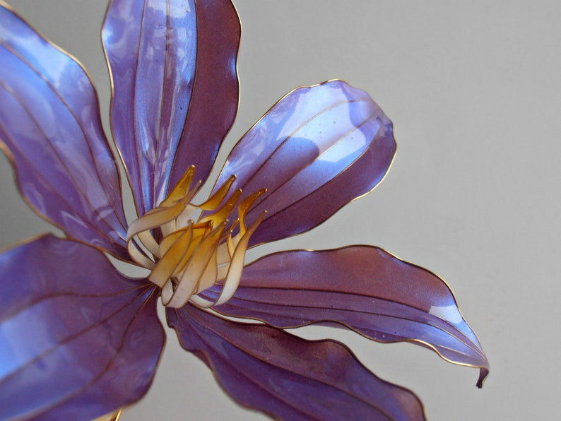Bridal purple clematis flower hair pin dip flower luxury wedding bridesmaid accessories from epoxy