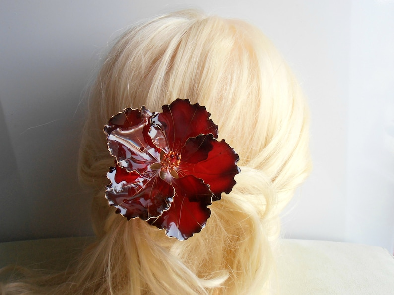 Uniq Hibiscus Hawaiian Hair Clip Big Red Flower Handmade Etsy