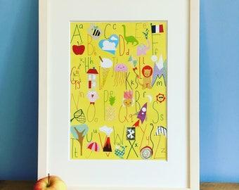 A4 unframed Fun colourful Alphabet Poster.