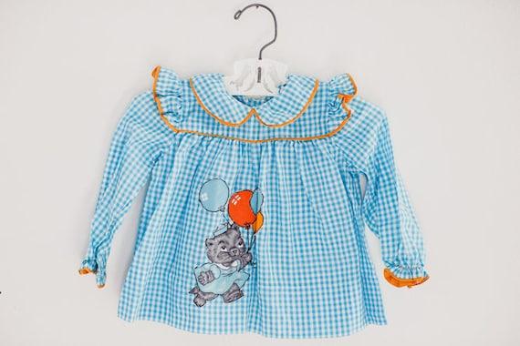 Vintage Baby Shirt. Vintage Blue Baby Shirt. Vinta