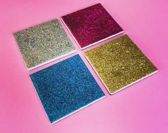 Ceramic Coasters - Resin Coasters - Glitter Coasters - Ceramic Tiles - Gold Glitter - Silver Glitter - Pink Glitter - Blue Glitter