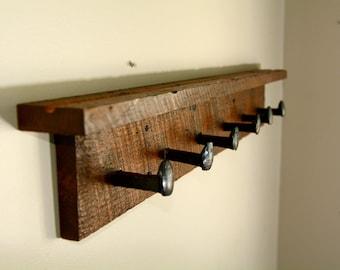 Rail Spike Barnwood Coat Rack