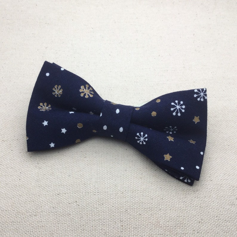 3dad53a5f903 Navy Blue Snow Flake Bow Tie Navy Christmas BowTie Children | Etsy