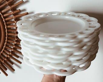 Milkglass Scalloped Plates | Set of 8 & Scalloped plates | Etsy